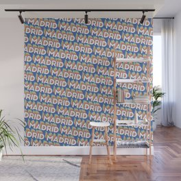 Madrid, Spain Trendy Rainbow Text Pattern (Blue) Wall Mural