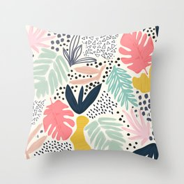 TROPIC COLLAGE ABSTRACT MODERN Throw Pillow
