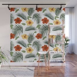 Tropical plants and flowers Wall Mural