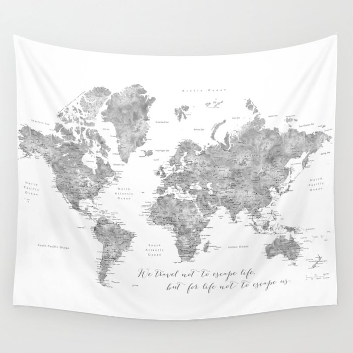 World map wall tapestries society6 we travel not to escape life grayscale world map wall tapestry gumiabroncs Choice Image