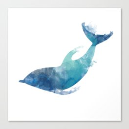 Watercolor playing Dolphin Canvas Print