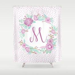 Monogram M - cute girls purple florals flower wreath, lilac florals, baby girl, baby blanket Shower Curtain