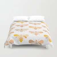 bees Duvet Covers featuring Bees by Heleen van Buul