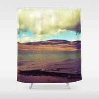the national Shower Curtains featuring National Forest by Christel Sayegh