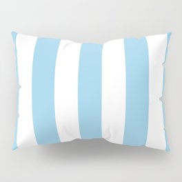 Cornflower heavenly - solid color - white vertical lines pattern Pillow Sham