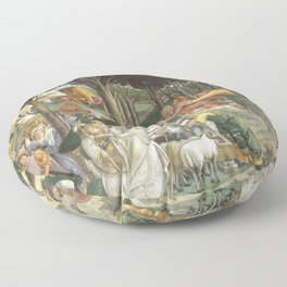 "Sandro Botticelli ""Youth of Moses"", Sistine Chapel. Floor Pillow"