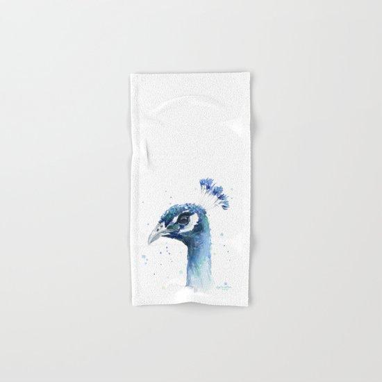 Peacock Watercolor Painting Bird Animal Hand & Bath Towel