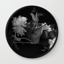 Roses - mono Wall Clock