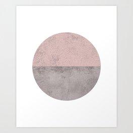 DARK BLUSH GRAY CONCRETE CIRCLE Art Print