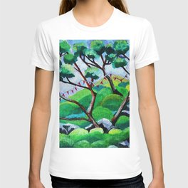 Japanese Garden with Flags T-shirt