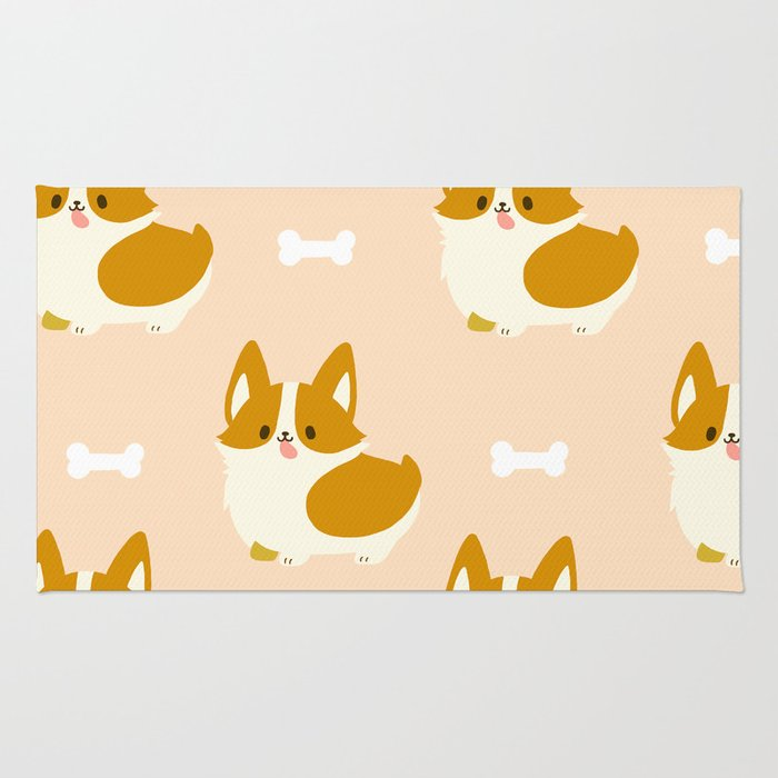 Kawaii Cute Corgi Rug