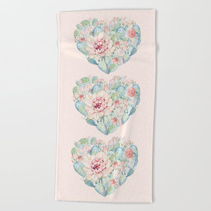 Three Hearts Cactus Rose Beach Towel