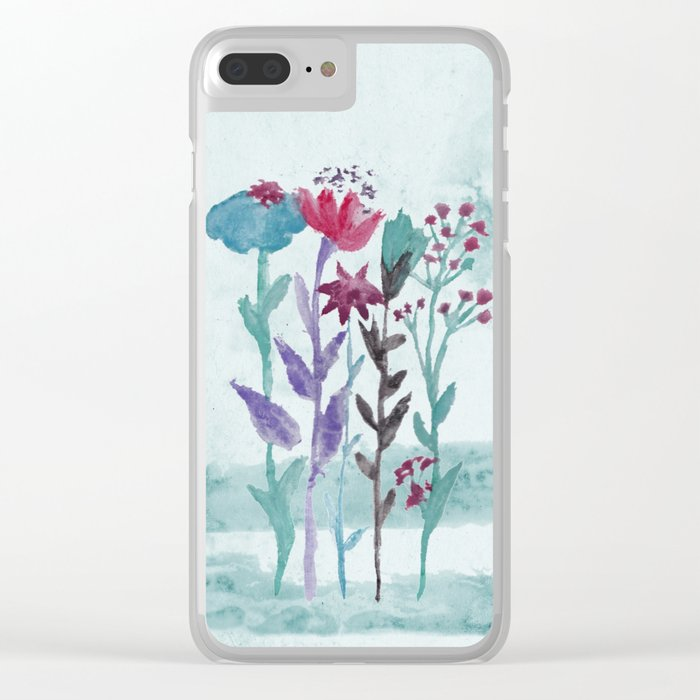 Meadow Flowers Watercolor Clear iPhone Case