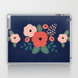 Flower Pattern, Pink Red Flowers on Blue, Vintage, Floral Laptop & iPad Skin