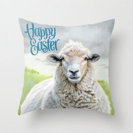 Portrait Of A Sheep- Happy Easter Throw Pillow