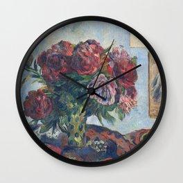 Paul Gauguin - Still Life With Peonies Wall Clock
