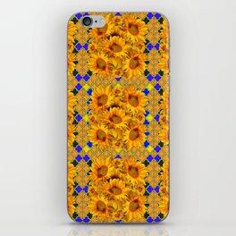 GOLDEN  YELLOW SUNFLOWERS GOLD & PURPLE PATTERN iPhone Skin
