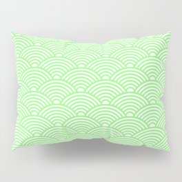 Japanese Waves (Light Green & White Pattern) Pillow Sham