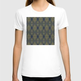 The Cat's Pajama's! Blue and Gold Art Deco Pattern T-shirt