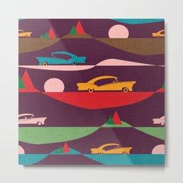 50s Retro Road Trip Purple #midcenturymodern Metal Print