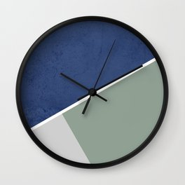 Navy Sage Gray Geometric Wall Clock
