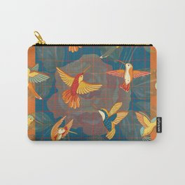 Hummingbirds in Orange Carry-All Pouch