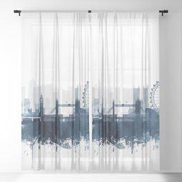 London City Skyline Blue Watercolor by zouzounioart Sheer Curtain