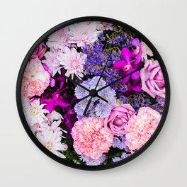 Pink Purple Flowers x Ultraviolet Wall Clock