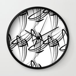 Monochrome pattern lines for decoration in Victorian style on a white background. Wall Clock