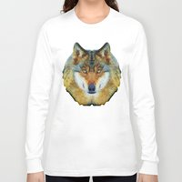 polygon Long Sleeve T-shirts featuring polygon wolf by Ancello