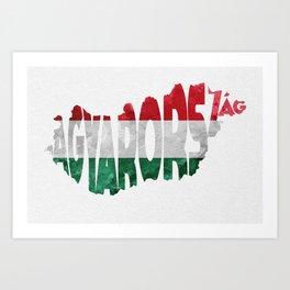 Magyarország World Map / Hungary Typography Flag Map Art Art Print