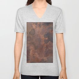 Tarnished, Stained and Scratched Copper Metal Texture Industrial Art Unisex V-Neck