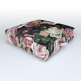 Vintage & Shabby chic - dark retro floral roses pattern Outdoor Floor Cushion