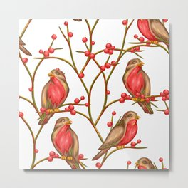A Bird On Tree Branches Christmas Patterns 12 Metal Print