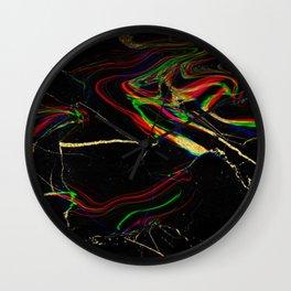 black rainbow marble Wall Clock