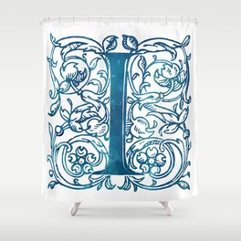 Letter I Antique Floral Letterpress Monogram Shower Curtain