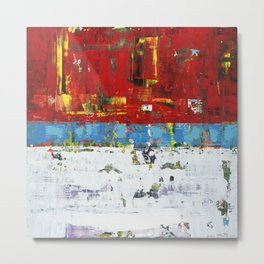 Folly Bright Red White Modern Art Abstract Painting Metal Print