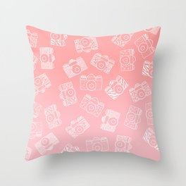Girly modern hand drawn cameras pattern on pink blush ombre Throw Pillow
