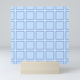 square and tartan 7 blue Mini Art Print
