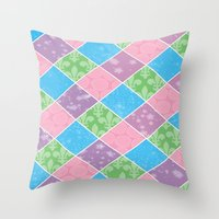 preppy Throw Pillows featuring Dazed & Preppy by Raizhay Lough