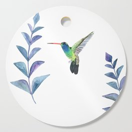 Hummingbird with tropical leaves watercolor design Cutting Board