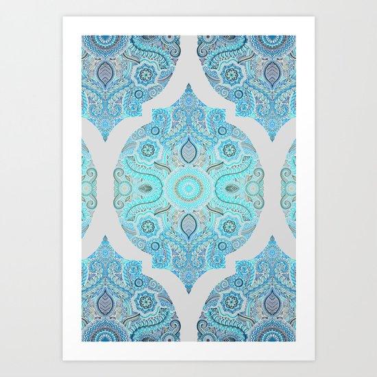 Through Ocean & Sky - turquoise & blue Moroccan pattern Art Print
