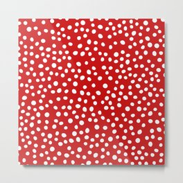 Red and white doodle dots Metal Print