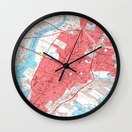 Vintage Map of Jersey City NJ (1955) 2 Wall Clock