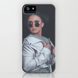 Fashion Girl Posing, wearing Urban Hipster Style, Sweet Pastel Colors, Trendy Sunglasses, Pink Jacke iPhone Case