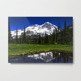 Mt Rainier Reflection Metal Print