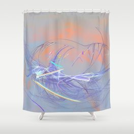 Ladybug on a to them invisible flower Shower Curtain