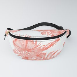 Tropical Palm Leaves Hibiscus Flowers Deep Coral Fanny Pack