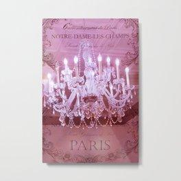 Paris Pink Crystal Chandelier Metal Print