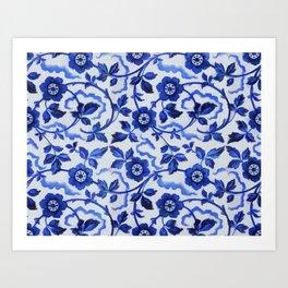 Azulejos blue floral pattern Kunstdrucke